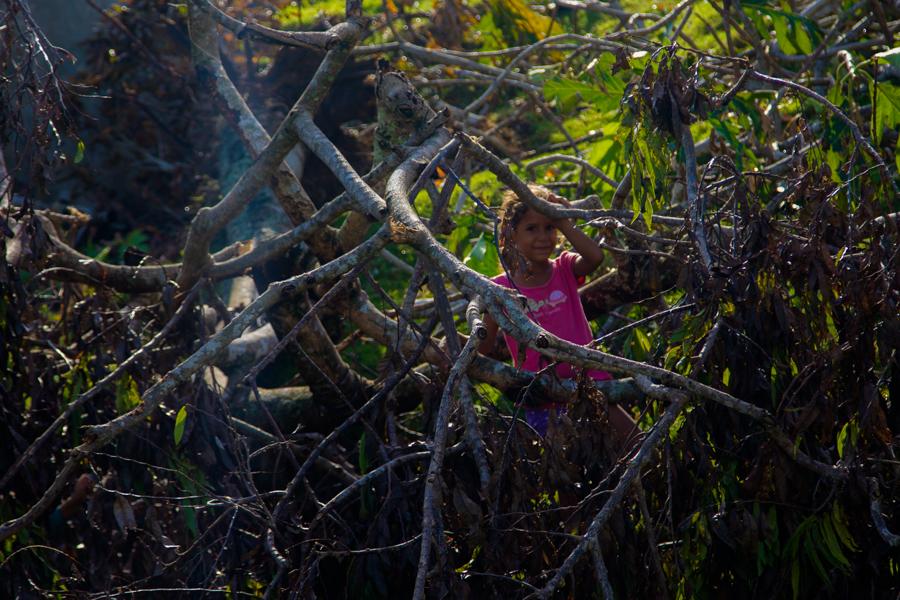 Una niña que juega entre árboles caídos (Foto: Ismario Rodríguez)