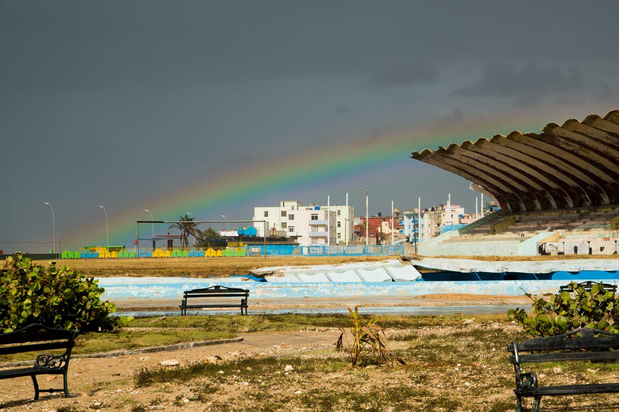 Arcoiris en El Vedado este lunes 11 de septiembre (Foto: Jorge Ricardo)
