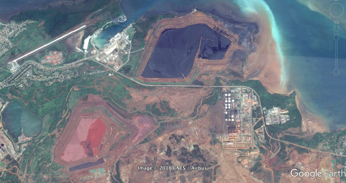 Vista área de la zona minera de Moa, Holguín (Imagen obtenida de Google Earth)