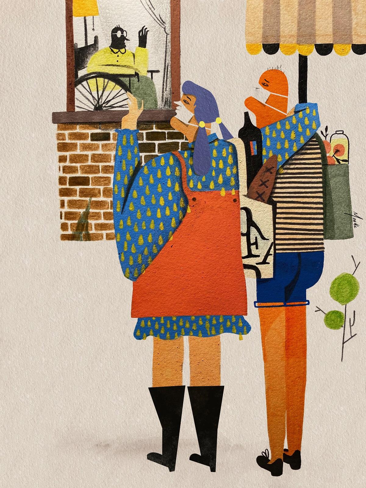 Con esta ilustración quiero enviar amor y los mejores deseos a nuestras queridas ancianas y ancianos. Están en mayor riesgo de padecimientos graves de COVID-19. Necesitan nuestra protección. Quedémonos en casa y ayudemos a nuestras abuelas y abuelos. Mantengamos la distancia física pero no la distancia emocional (Ilustración: Monkc).